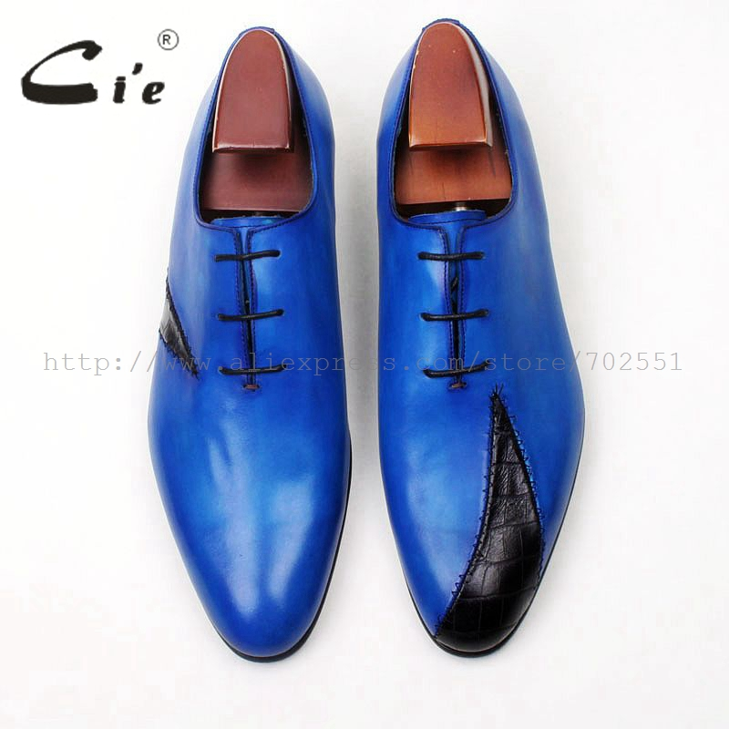 cie round toe blue mixed black patched men 39 s casual shoe 100 genuine calf leather bespoke men shoe handmade leather shoe OX577 in Formal Shoes from Shoes
