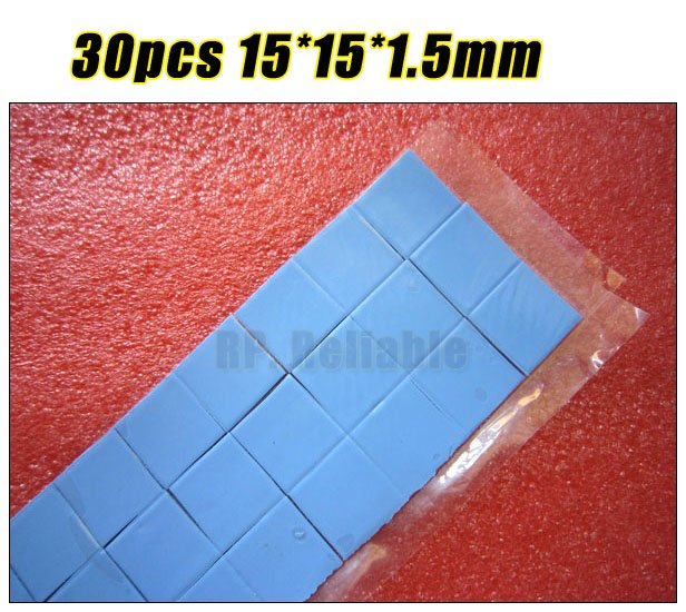 30pcs 15mm*15mm*1.5mm Soft Heat Transfer Silicone Pads for Laptop Heatsink Graphic Card  ...