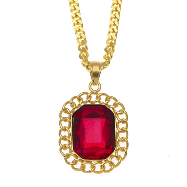 Vogue golden bling red stone necklaces chains men women charm vogue golden bling red stone necklaces chains men women charm crystal pendants jewelry gifts steel chokers aloadofball Image collections