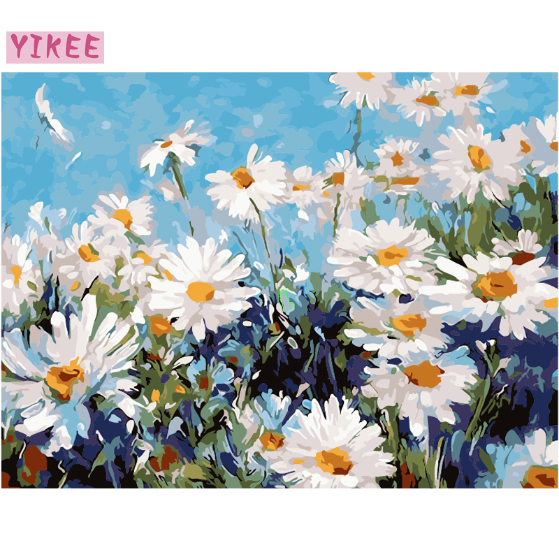 Colorful Picture By Numbers Flowers,livingroom Decoration,nordic Style,painting By Numbers Daisy Flowers