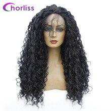 Средне афро странный вьющийся парик фронта шнурка Высокотемпературный синтетический парик фронта