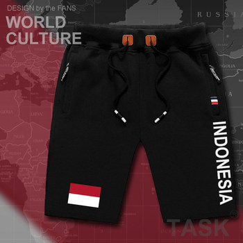 Indonesia Indonesian mens shorts beach new men's board shorts flag workout zipper pocket sweat bodybuilding 2017 cotton  IDN ID