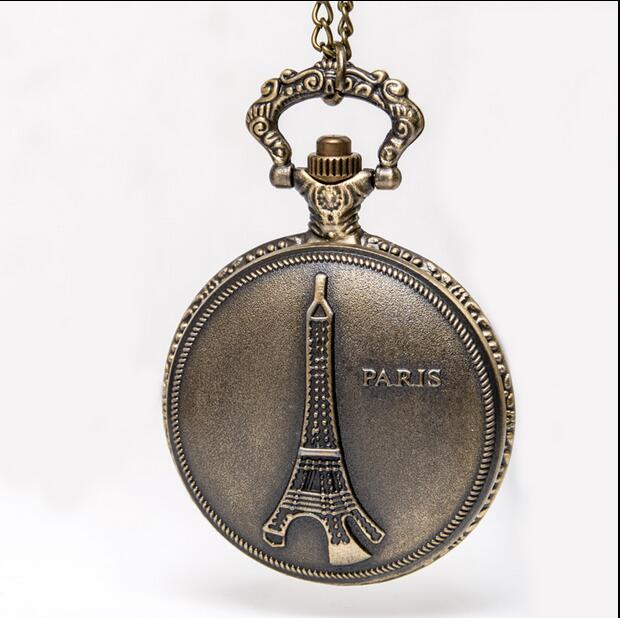 Vintage Bronze Antiques Fashion Quartz Eiffel Tower Modern Clock Necklace Pocket Watches Gift