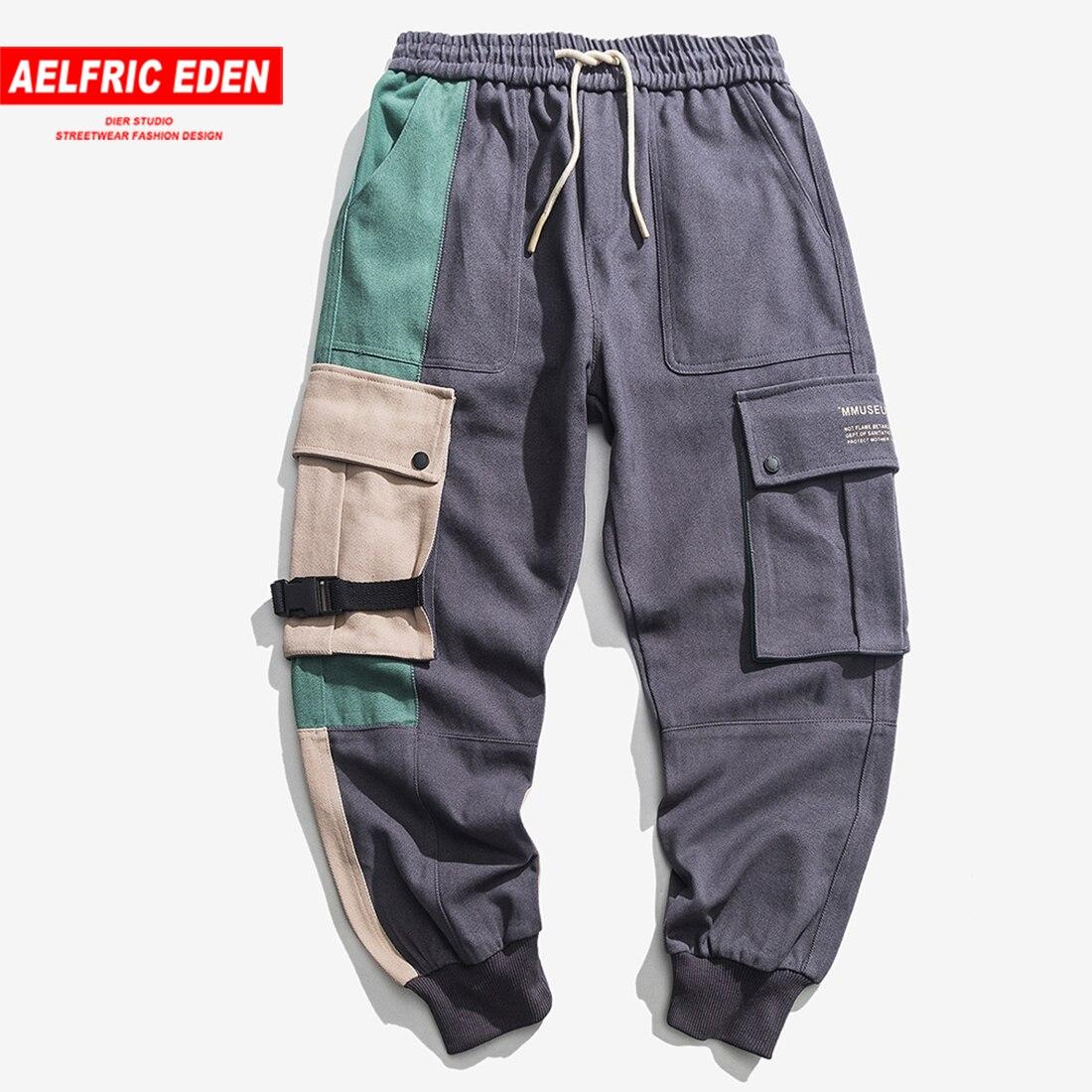 Aelfric Eden Marke Neue Hüfte Hop Cargo Hosen Highstreet Farbe Block Kontrast Jogginghose Regelmäßige Kordelzug Männer Jogger Streetwear