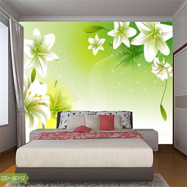 Beibehang 3d Fototapete Für Wohnzimmer Schlafzimmer Esszimmer Grün Weiß  Lilie Mural Tapeten Wohnkultur Kontakt Papier Bodenbelag