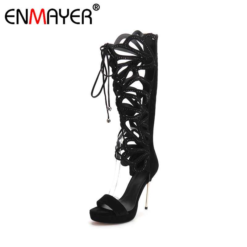 ФОТО ENMAYER Flock Gladiator Zippers Open Toe Cover High Heels Classic Black Genuine Leather Women Party Shoes Summer Women Sandals