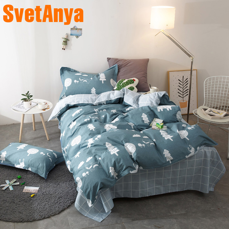 Svetanya Single Twin Size Bed Linens 100 Cotton Sheet Pillowcase Quilt Cover Sets Forest Printed