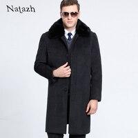 NATAZH 2017 Yeni Adam Yün Ceket Yüksek Kaliteli Kış Ceket Erkekler Sıcak Yün Uzun Kaşmir Palto Iş Beyefendi