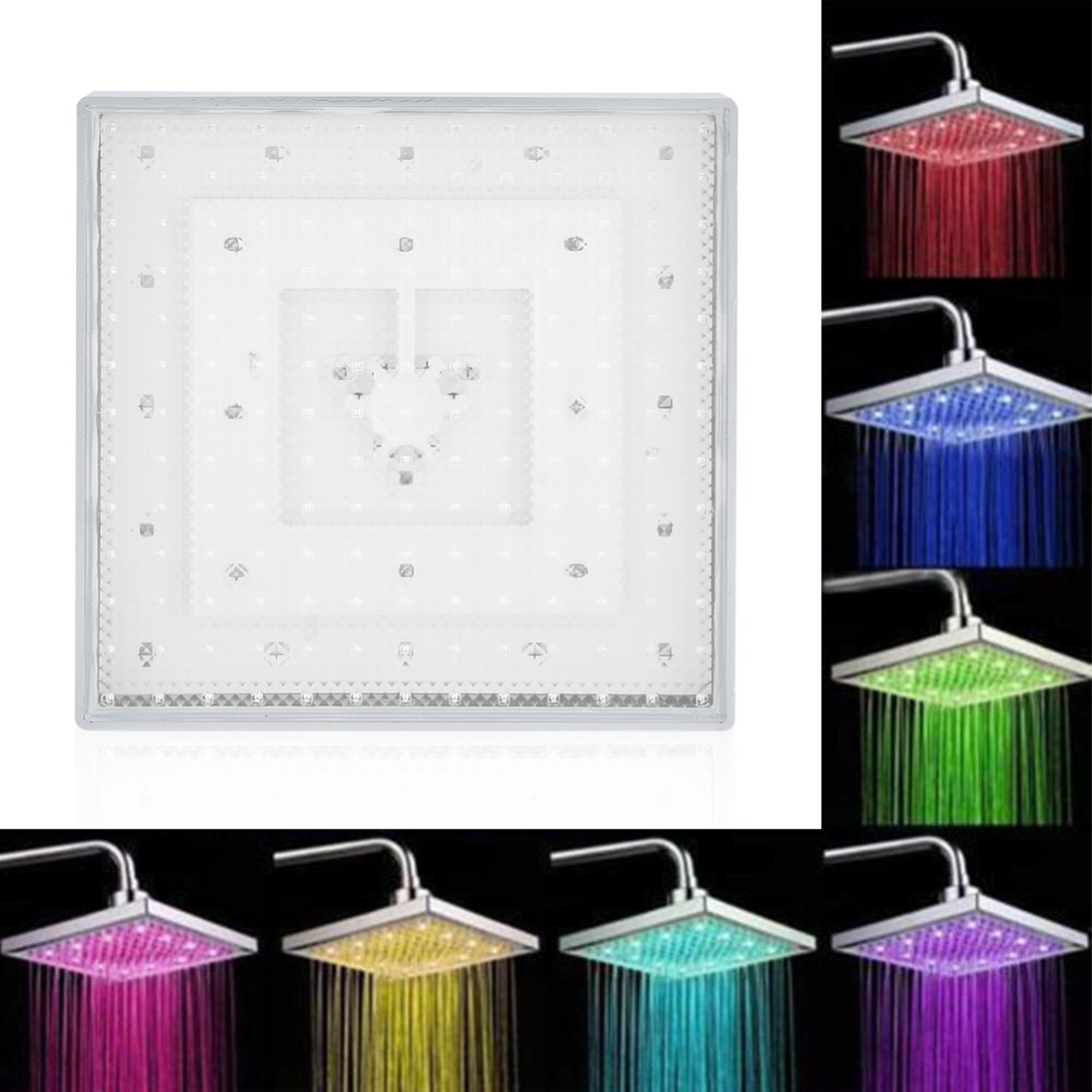 8 Inch Square Carbon Steel Overhead Shower Head Strong Water Flow LED Shower Head 7 Color Changing Romantic Light Shower Sprayer