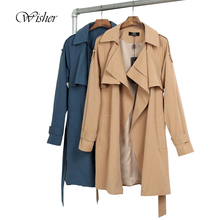 2016 Spring New Wide Lapel Cotton Long Trench Coat Women Plus Size Trench Femme With Belt Oversize Beige Trench Coat Femme