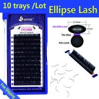 Eyemix 10pcs/Lot Ellipse eye lash 3D PBT Fiber Cilia Artificial Flat Individual EyeLash Extension Very Soft Light Lash