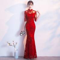 2018 Red Chinese Wedding Dress Female Long Half Sleeve Cheongsam Slim Chinese Traditional Dress Women Qipao for Wedding Party