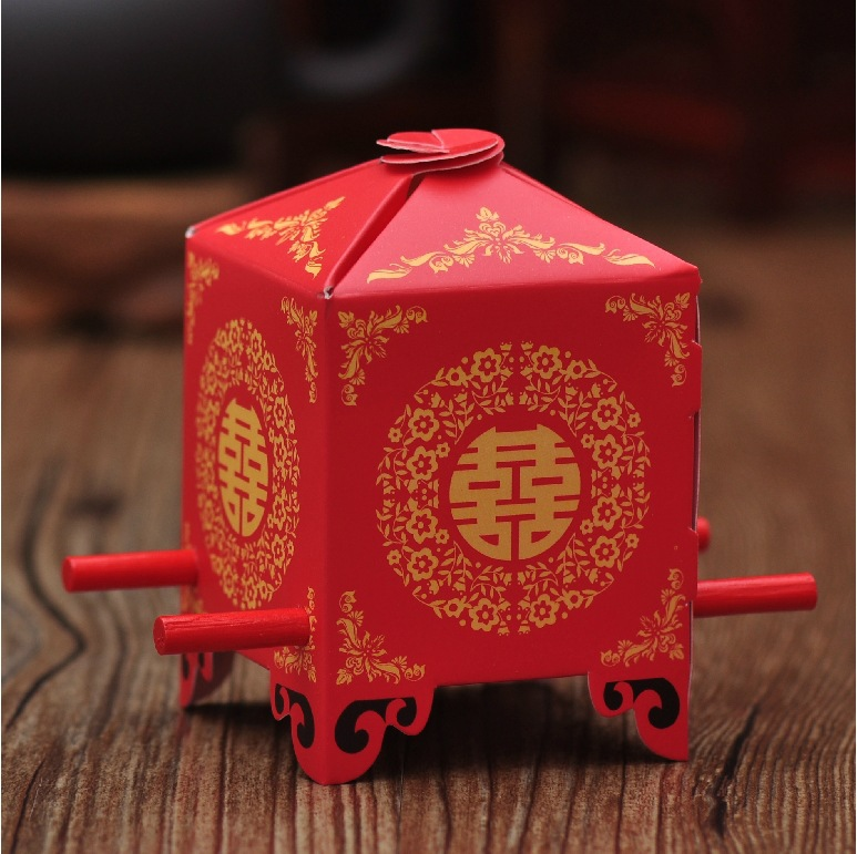Chinese Asian Style Red Double Happiness Sedan Chair