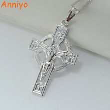 Anniyo ICXC Russian orthodox church cross necklace pendant for women silver color crosses jewelry circle christianity(China)