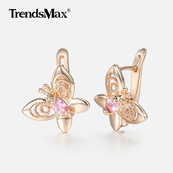 Pink Cubic Zircoina Butterfly Earrings Women Girls 585 Rose Gold Stud Earrings Woman Jewelry Valentines Gifts.jpg 350x350 - Earrings For Women