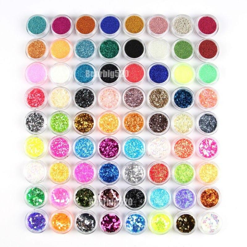 Nagelglitzer ZuverläSsig Agf-2015 Professionelle 72 Töpfe Acryl Glitter Pulver Ausgezeichnete Nail Art Dekoration Zerkleinert Shell Perle Hexagon Glitter Für Nagel