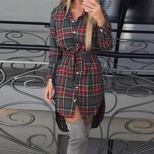 Fashion Women Blouses Long Sleeve Plaid Shirts Turn Down Collar Shirt Casual Ladies Tops Tunic Feminine