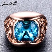Junxin moda mujer hombre light blue square circón anillo rose gold filled cocktail banquete de boda de compromiso anillos de la joyería de la vendimia