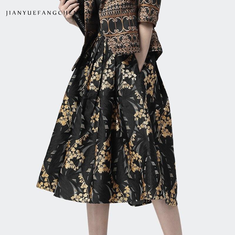 2019 mode femmes une ligne taille haute Vintage jupes Midi plissé Zipper Jacquard Jupe grande taille dames Jupe mi-mollet Swing