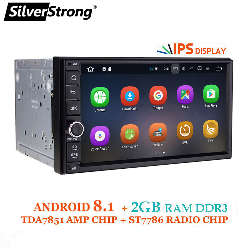 SilverStrong IPS Android8.0 Universal 2din coche DVD OctaCore 4G 32G DSP doble DIN Car Radio GPS TDA7851 Autoradio TPMS 706X3-X5