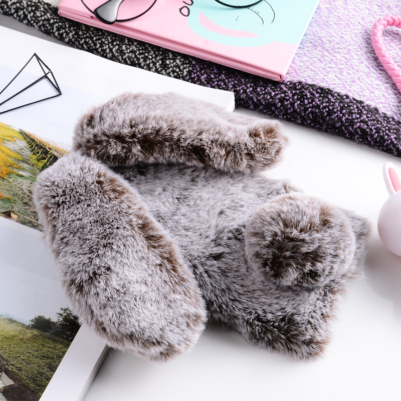 3D Warm Fluffy Fur Rabbit Case For Xiaomi Redmi 6A Cover Glitter Bling Diamond Case For Xiaomi Redmi Note 5 Pro 5A 6A S2 5 Plus