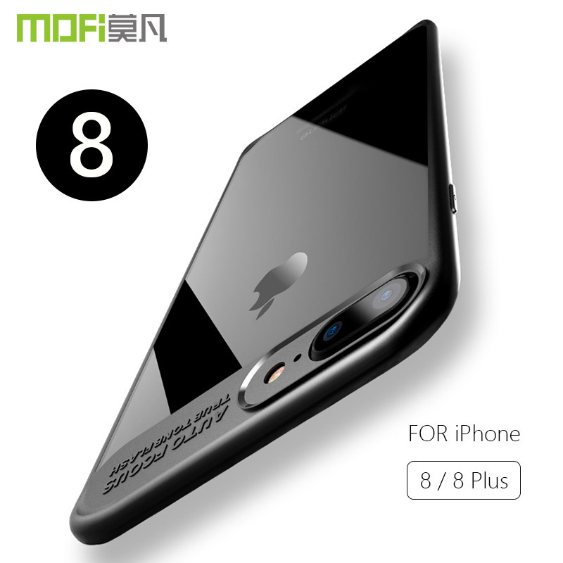 For iPhone 8 Plus Case Cover MOFI for Apple 8 Transparent Case+Soft Silicone Frame For iPhone 8 Plus Full Cover Hard Back Case  iPhone 8