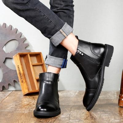 2018 Frühling Neue Chelsea Stiefel Schuhe Stiefel Männer Männer Stiefel Faul Zipper Hohe Hilfe Casual Schuhe Männer Schuhe Exquisite Traditionelle Stickkunst