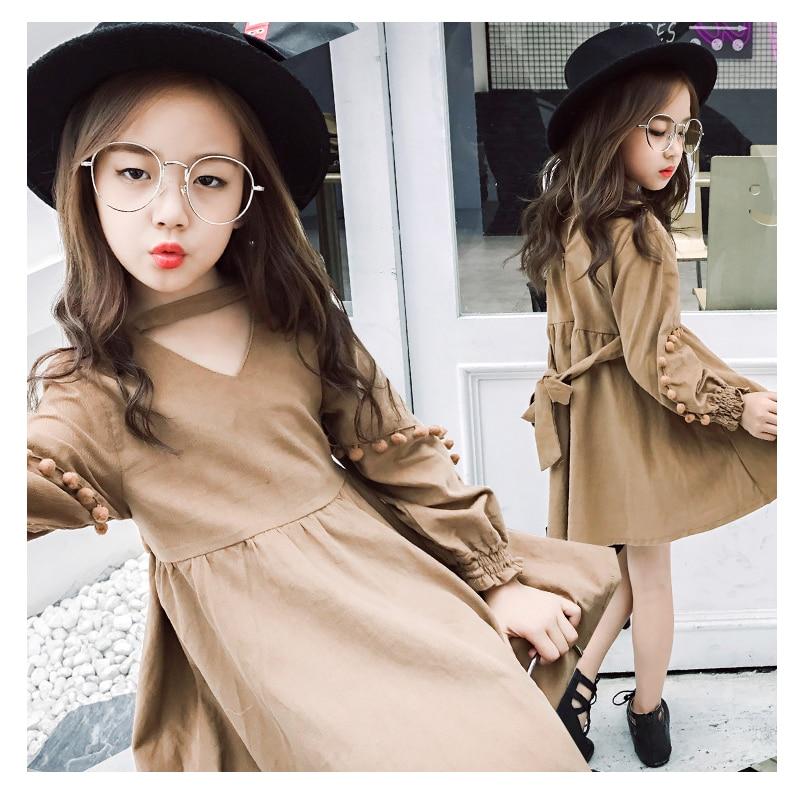 New 2017 Long Sleeve Girls Dress Ball Decoration with Belt Fashion Dress for Little Teenager Girl 110cm-160cm 4pcs new for ball uff bes m18mg noc80b s04g