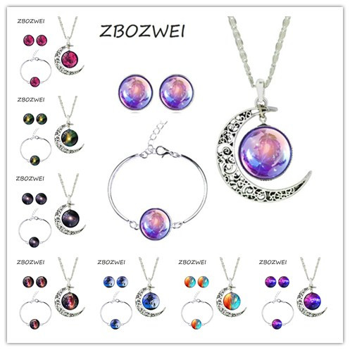 ZBOZWEI Hot Sale The right game Jewelry Sets For Women Silver Emoji Jewelry Sets Earrings Bracelet Moon Necklace Can customized