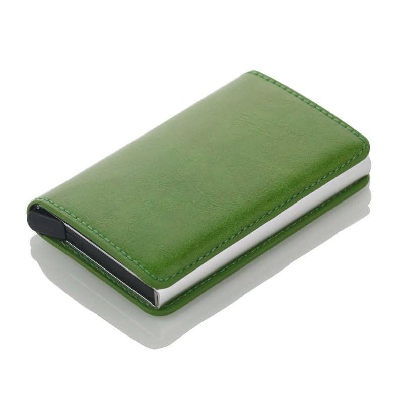 ใหม่ RFID การปิดกั้น Vintage หนังบัตรเครดิตผู้ถือบัตรอลูมิเนียมนามบัตรอัตโนมัติชายโลหะ Cardholder กระเป๋าสตางค์