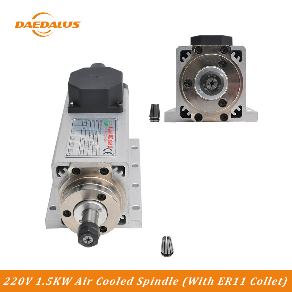 Daedalus CNC Router Spindle Motor 220V 1500W 400HZ Frequency Air Cooled Spindle Motor With ER11 Collect
