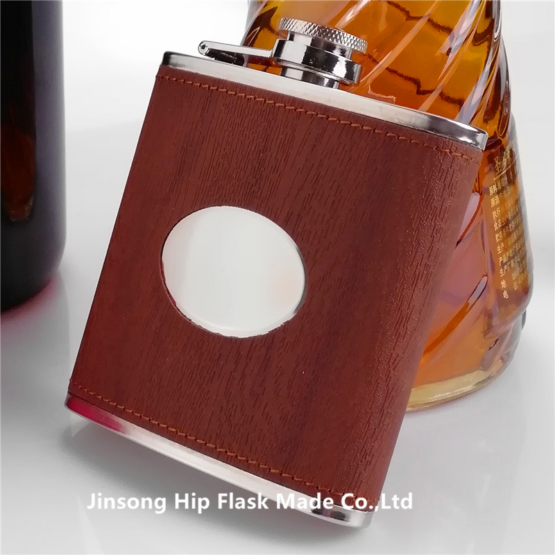 6 oz wood leather with oval  stainless steel  hip flask ,Personalized logo can be engraved on the oval part-in Hip Flasks from Home & Garden    1