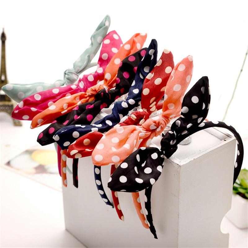 Cute 6pcs/lot Adult & Kids Hair Head Bowknot Dot Headband Cloth Rabbit Ears Hairband Women Girls Accessories Free Shipping