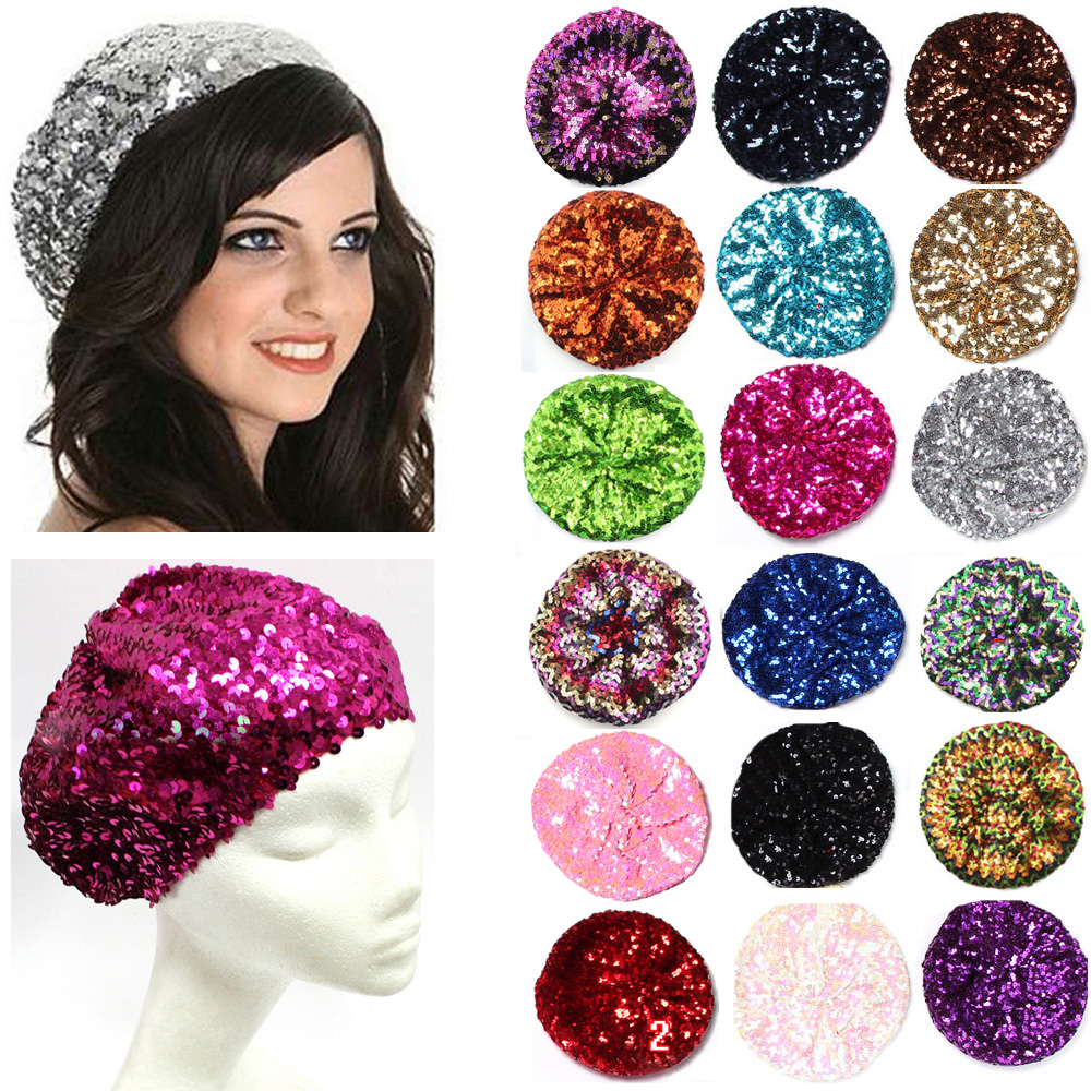 Women Ladies Sequin Glitter Beanie Dancing Hat Metallic Shining Club Party Cap HATYS0031