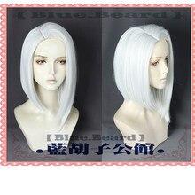 Ashe cosplay peruca 35cm curto em linha reta resistente ao calor peruca de jogo de cabelo sintético prata-branco traje festa peruca + peruca boné