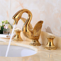 Bathroom Basin faucet Total Brass Sink Mixer Tap Hot and Cold Gold Swan Faucet Bathroom Crane Carving Dual Handle Lavatory Tap