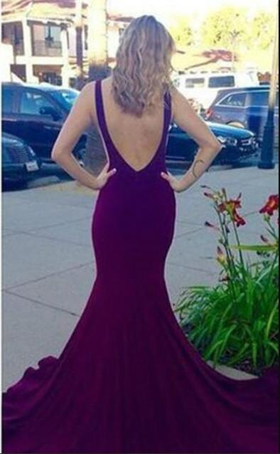 2017 Purple Long Prom gown Fashion Mermaid Chiffon Backless Girls Wear Special Occasion Cheap Party evening Dress michael korns