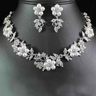 Hot Delicate Flower Pearl Austrian Crystal Necklace Earrings Wedding Jewelry Set