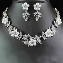 Hot Delicate Flower Pearl Austrian Crystal Necklace Earrings Wedding Jewelry Set недорого