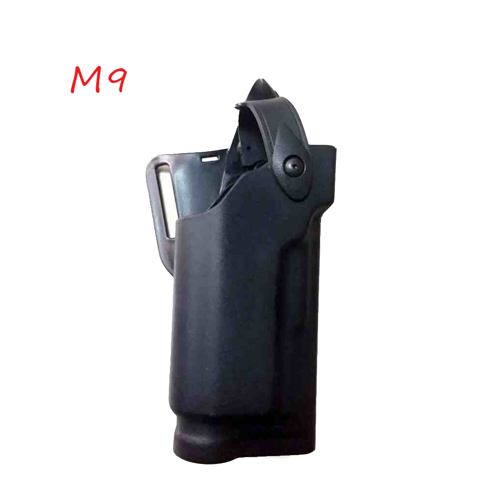 Military Belt Holster Beretta M9 92 96 Pistol Gun Holster Tactical Hunting Airsoft Waist Holster With Flashlight For M9 Holster in Holsters from Sports Entertainment