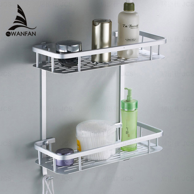 Bathroom Shelves Two Layer Chrome Silver Wall Rack Towel Hooks