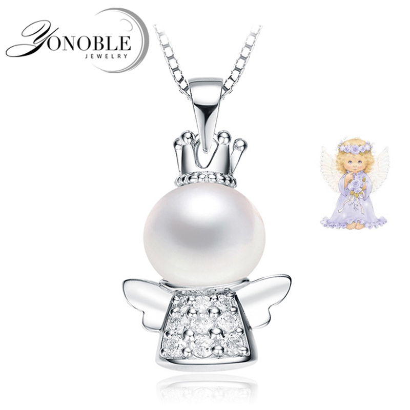 Real Beautiful Freshwater Pearl Pendant 925 Silver,wedding Girl Jewelry Angel Wing Necklace White Natural Pearl Pendant