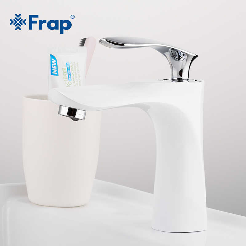 FRAP Newly Brass White And Chrome Basin Faucet Hot Cold Water Single Handle Bathroom Faucets Mixer Chrome Mini Sink Tap Y10151