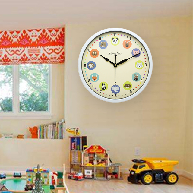 Newest 12 Inches Metal Frame Animal Cartoon Design Modern Fashion Children Room Round Wall Clock Decorative Wall clock