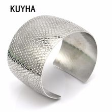 Wide Arm Cuff Bracelets for Women Men Girls Silver Color Female Male Open Bangle Fashion Bijoux Femme(China)