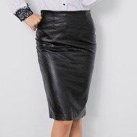 New global fashion high waist women's skirt Slim black leather pants tight sexy zipper skirt ladies casual bag hip skirt