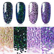 4Boxes/set Holographic Nail Sequins 1mm Round Colorful Glitter 3D Nail Paillette Flakes Manicure Nail Art Decoration Tool