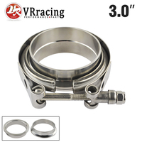 VR RACING STORE 3 SUS 304 Steel Stainless Exhaust V Band Clamp Flange Kit V Band