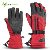 Rockbros Cycling Gloves Men Women Waterproof Outdoor Winter Sports Gloves For Ski Motorcycle Snowboard Warm Bicycle