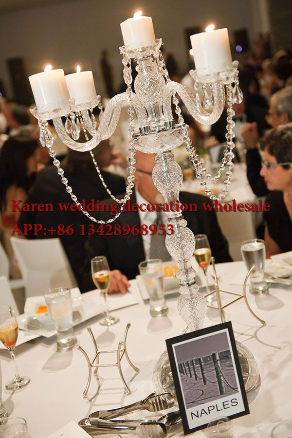 Acrylic Crystal Flower Stand Wedding Table Centerpiece Transparent
